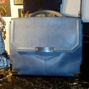 ALBERTA DI CANIO gray pebbled leather satchel